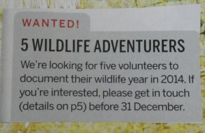 Wildlife magazine advert